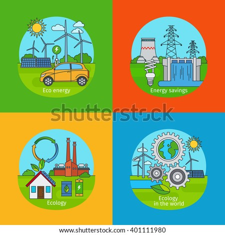 Green energy concept and ecology design concept. Vector green energy icons - stock vector