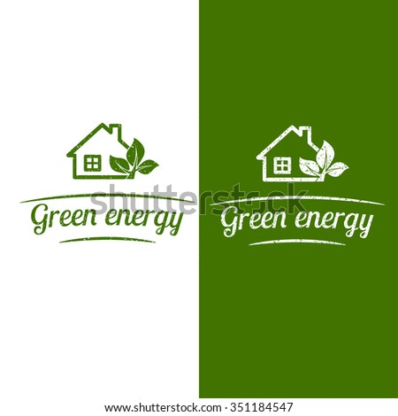 Green energy, eco house design. Flat icon. Vector illustration.
