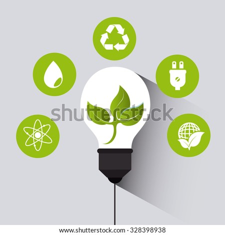 Green energy ecology design over white background, vector illustration.