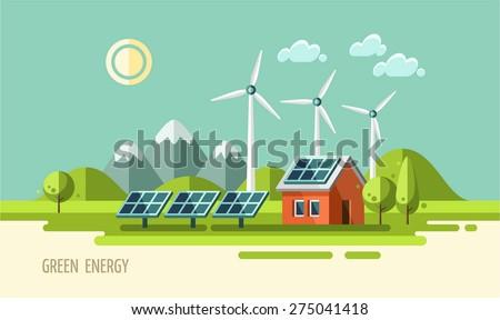 Green energy, ecology, environment. flat design vector concept illustration. - stock vector