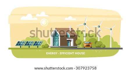 Green energy, energy-efficient house, passive house, Eco house, ecology. Flat design vector concept illustration. - stock vector