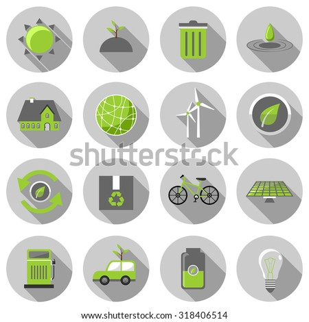 green energy flat icon set vector illustration design with long shadow isolated on white background. for web and mobile application