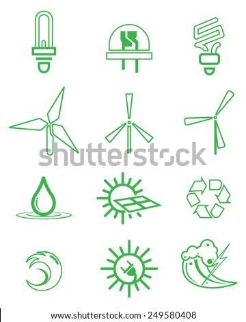 Green Energy Icon Set - Illustration - stock vector