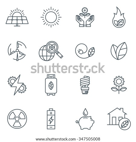 Green energy icon set suitable for info graphics, websites and print media. Black and white flat line icons.