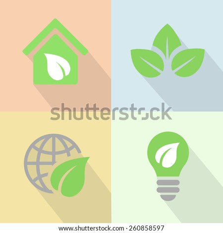 Green energy icons poster flat style vector