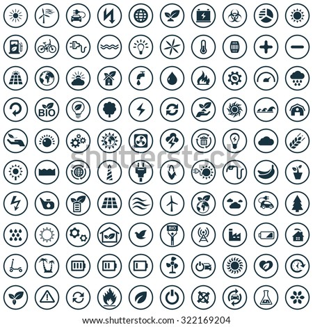 green energy Icons Vector set. green energy Icons Symbol set. green energy Icons Picture set. green energy Icon Image set. green energy Icons Shape set. green energy 100 Icons Sign set - stock vector