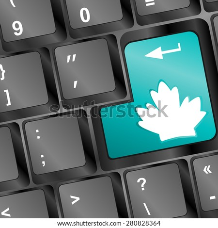 Green energy key with leaf icon on laptop keyboard. Included clipping path, so you can easily edit it. vector - stock vector