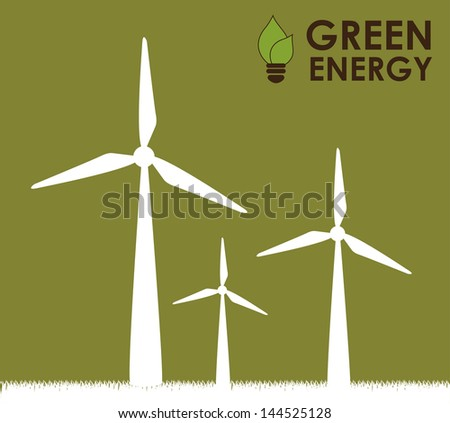 green energy over green background vector illustration - stock vector