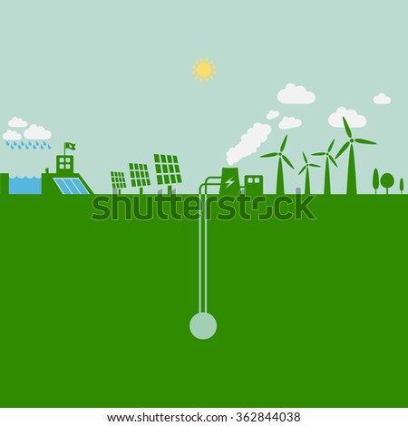 Green energy power plants - Water, solar, geothermal & wind. Energy industry, sustainable development and ecology background illustration. - stock vector