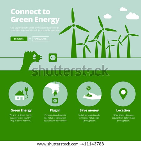 Green energy supplier. Connect to wind power plants energy. Website banner illustration and services icons. - stock vector