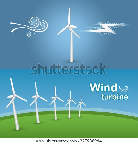 Green energy transformation with a wind turbine. Wind-powered electrical generators on a green field. - stock vector