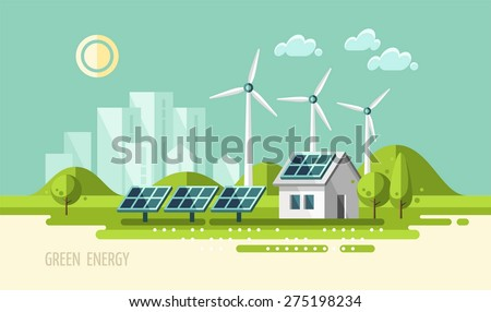 Green energy, urban landscape, ecology. flat design vector concept illustration. - stock vector