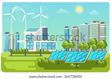 Green energy urban landscape vector. Ecology nature, eco house building. Green energy eco city vector landscape illustration - stock vector