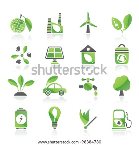 Green, Environment and ecology Icons - vector icon set - stock vector