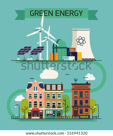 Green environment and ecosystem friendly energy cool vector flat design visual or web banner template. Alternative power resources concept illustration with wind turbines, nuclear plant, solar panels - stock vector