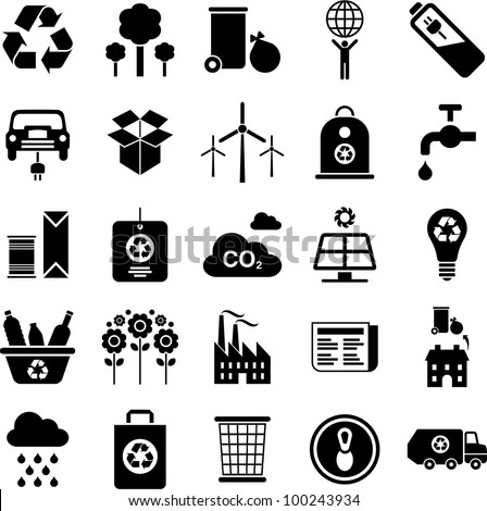 green environment and recycle icons - stock vector