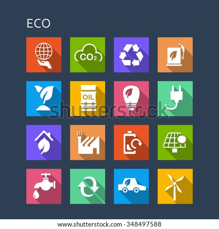 Green environment ECO and recycle concept icon set - Flat Series with long shadows - stock vector