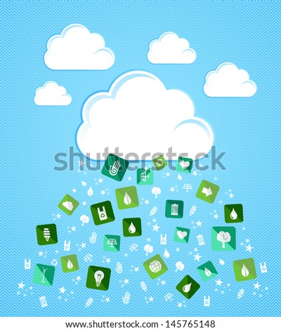 Green environment flat icons splash from Cloud set. Vector file layered for easy manipulation and custom coloring. - stock vector