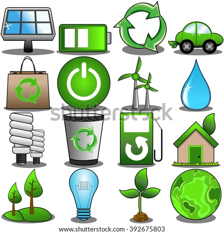 Green environment icon set isolated
