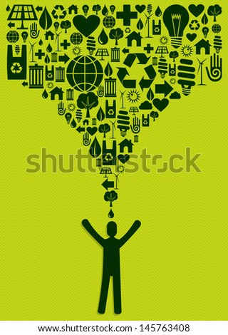Green environment icons set splash eco man yellow background. Vector file layered for easy manipulation and custom coloring. - stock vector