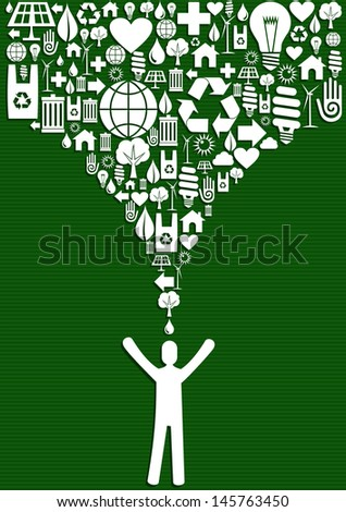 Green environment icons set splash over eco man. Vector file layered for easy manipulation and custom coloring.