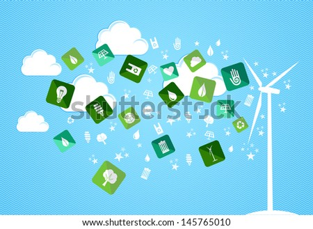 Green environment icons splash from turbine set. Vector file layered for easy manipulation and custom coloring. - stock vector