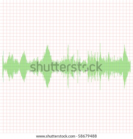 Green Equalizer on a red graph - stock vector