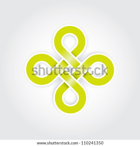 Green eternal knot concept in editable vector format - stock vector