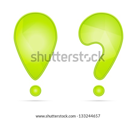 Green exclamation and question mark with subtle geometric pattern / exclamation and question mark