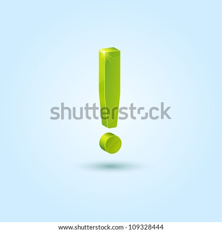 Green exclamation mark symbol isolated on blue background. This vector icon is fully editable. - stock vector