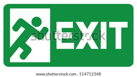 green exit emergency sign (emergency exit door - sign with human figure, emergency exit label, emergency exit icon) - stock vector