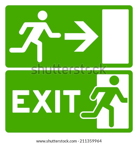 Green Exit Symbol - stock vector