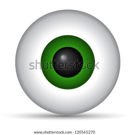Green eye ball - stock vector