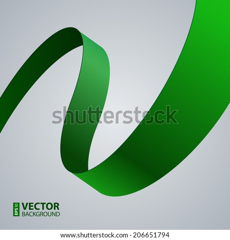 Green fabric curved ribbon on grey background. RGB EPS 10 vector illustration - stock vector