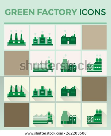 Green factory flat icons - stock vector