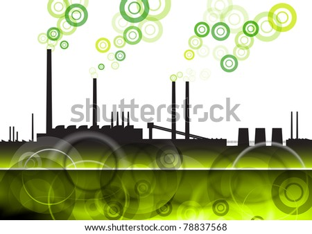 green factory with eco smoke - stock vector