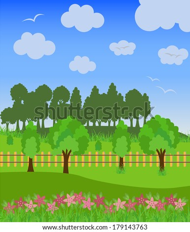 green field and trees, cloudscape. Vector illustration