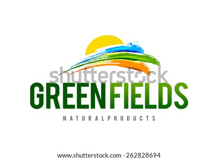 Green field logo design template. Abstract nature symbols. Vector art. - stock vector