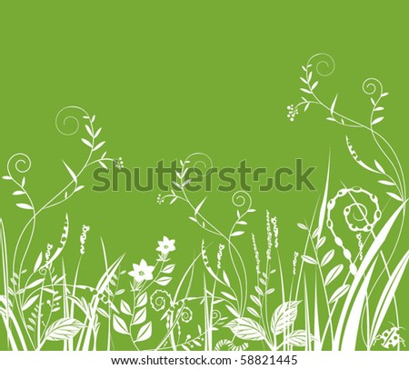 green field with  flowers and grass - stock vector