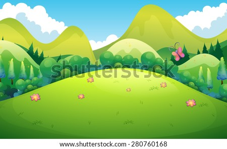 Green field with hills and trees in the back - stock vector