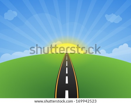 Green field with with Highway and clouds on blue sky in. Sunset of Road