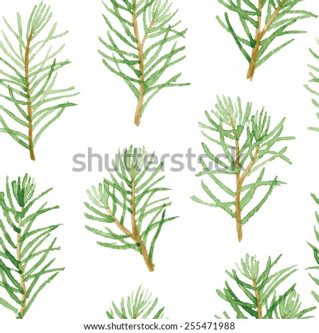 Green fir tree branches and leaves seamless pattern isolated on white background. Vectorized watercolor drawing. - stock vector