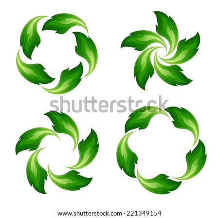 Green fire icons - stock vector