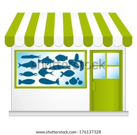 Green fishmonger. Cute little shop. Vector icon. - stock vector