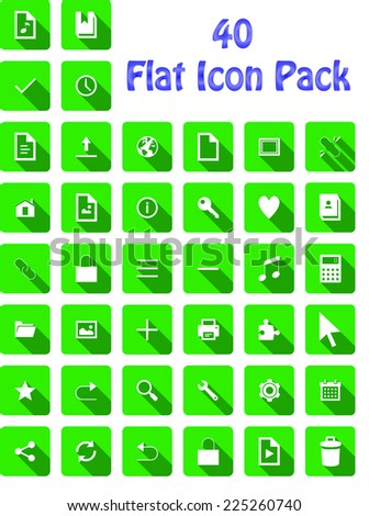Green Flat Shadow Icon Pack