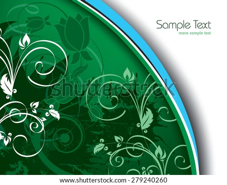 Green Floral Background. - stock vector