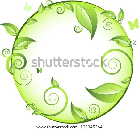 Green floral background. Element for design. - stock vector
