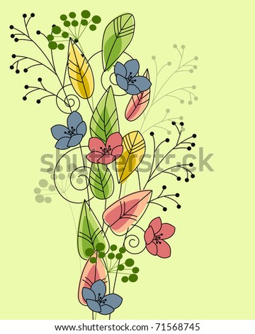 Green floral background with contour flowers and plants - stock vector