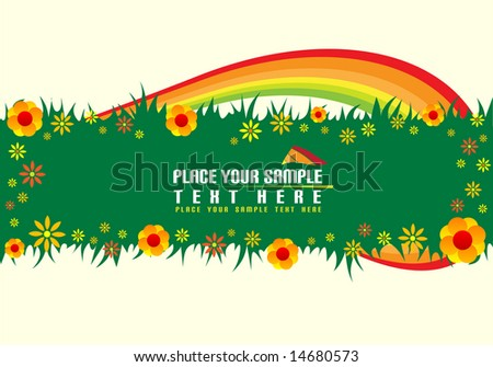 Green floral banner and rainbow