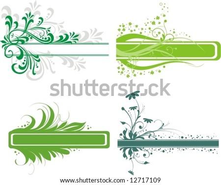 green floral frames - stock vector